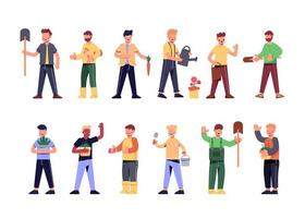 Bundle of many career character sets, 12 poses of various professions, lifestyles vector