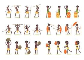 Bundle of African tribe character 6 set with 24 gestures. vector