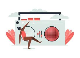 The woman danced to the music from the radio. vector