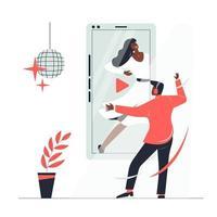 Internet hace que sea fácil para los jóvenes reproducir lecciones de baile en video a través de sus teléfonos móviles. vector