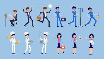 paquete de muchos conjuntos de personajes de carrera 4, 12 poses de diversas profesiones, estilos de vida, vector
