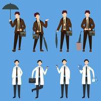 paquete de muchos conjuntos de personajes de carrera 2, 8 poses de diversas profesiones, estilos de vida, vector