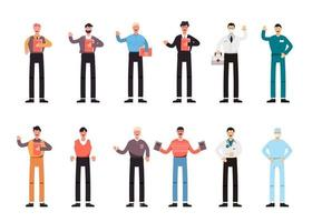 Bundle of many career character sets, 12 poses of various professions, lifestyles, vector