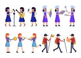 Bundle of many career character 4 sets, 12 poses of various professions, lifestyles, vector