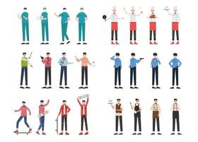 Bundle of many career character 9 sets, 24 poses of various professions, lifestyles, vector