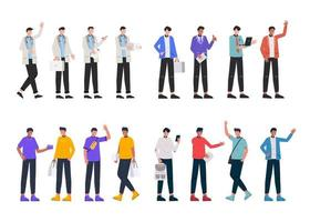 Bundle of many career character 4 sets, 16 poses of various professions, lifestyles, vector
