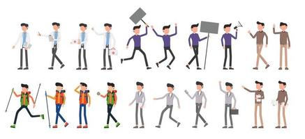 Bundle of many career character 5 sets, 20 poses of various professions, lifestyles, vector