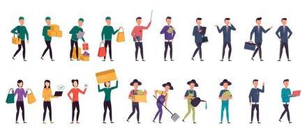 paquete de muchos conjuntos de personajes de carrera 2, 20 poses de diversas profesiones, estilos de vida, vector