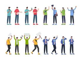 Bundle 4 sets man of character, 16 poses of various professions, lifestyles, career vector