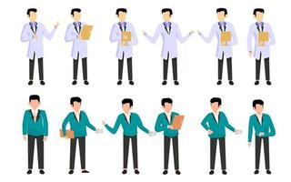 Bundle of many career character 2 sets, 16 poses of various professions, lifestyles, vector