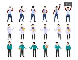 Bundle of many career character 3 sets, 18 poses of various professions, lifestyles, vector