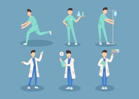 Bundle of many career character 2 sets, 6 poses of various professions, lifestyles, vector