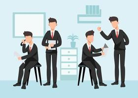 Office staff working in company building vector
