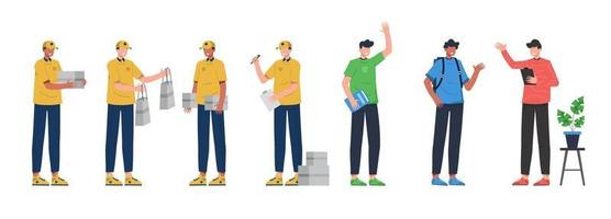 Bundle of many career character 2 sets, 7 poses of various professions, lifestyles, vector