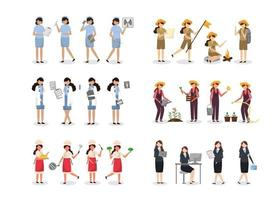 Bundle of 4 woman character sets, 16 poses of various professions, lifestyles vector