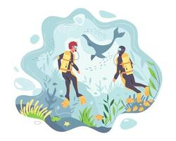 Scuba divers go on vacation and go watching whale in the sea. vector