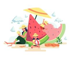 A mother of two children on vacation at the beach. She sit and read a book The son slid on the hill. Her daughter played a beach ball. vector