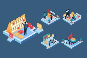 Two business people with calendar and work time Isometric vector