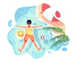 The boy went on a family trip. He was playing in the sea. Float peacefully on the surface of the water. vector