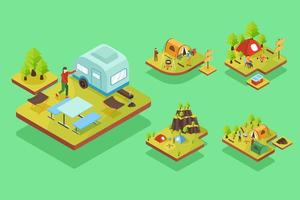 Isometric vector illustration vacation and camping concept