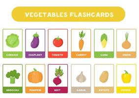 Cute cartoon vegetables with names. Flash cards for children. vector