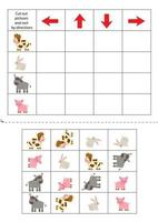 Cut and glue pictures. Left, right, up, down. Cute farm animals. vector