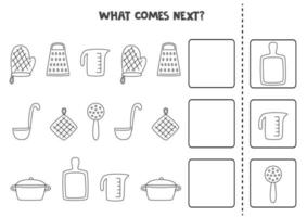 What comes next game with black and white kitchen utensils. vector