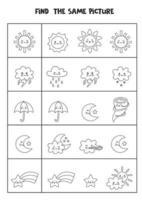 encontrar dos elementos meteorológicos iguales. hoja de trabajo en blanco y negro. vector