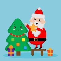 Cute Santa Claus and fur tree vector