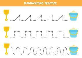 trazar líneas con pala y balde de dibujos animados. Practica de la escritura. vector