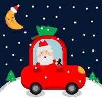 Santa Claus driving car vector