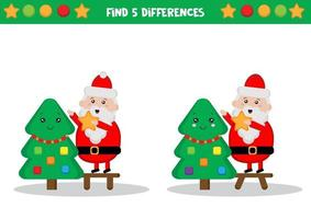 Santa Claus decorating tree vector