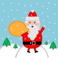 Cute Santa Claus with bag vector