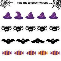 Halloween set. Educational game for kids. Halloween worksheet. vector