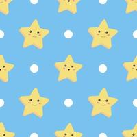 Seamless pattern. Star and circle on blue background. vector