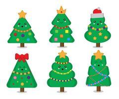 Set of cute christmas trees vector