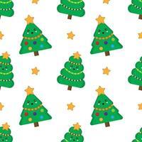 Christmas tree seamless pattern. Cute kawaii fur trees. vector