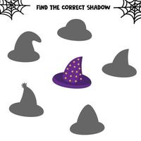 Find the correct shadow. Set of cute hats. Educational game for kids. Printable worksheet for halloween vector