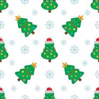 Seamless pattern with cute kawaii Christmas trees. Holiday decoration. vector