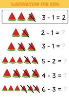 Educational math children game. Subtraction for kids. vector