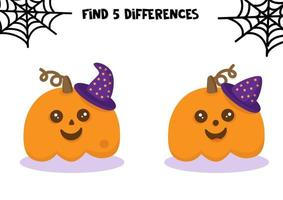 Halloween set. Educational game for kids. Halloween worksheet. Find differences. vector