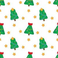 Cute christmas pattern. Seamless pattern with fur trees. vector