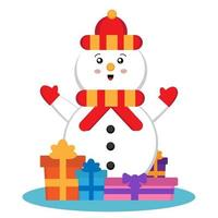Cute snowman with presents vector