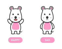 Cute mouse happy and sad opposite card cartoon vector icon illustration