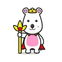 Cute mouse as a king cartoon vector icon illustration