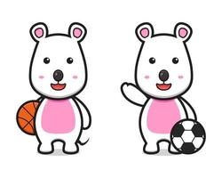 Cute mouse playing basketball and football cartoon vector icon illustration