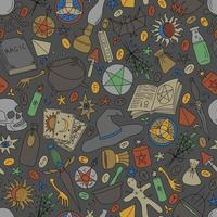 GRAY SEAMLESS BACKGROUND WITH COLORFUL OBJECTS FOR MAGIC vector