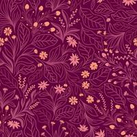 Fondo transparente lila con flores y hojas de color rosa vector