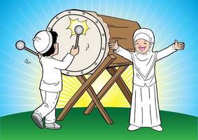 Muslim kids celebrating Eid Mubarak vector