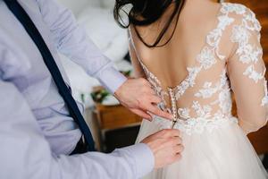 perfect wedding dress on the wedding day photo